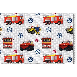 Cotton Jersey Fabric firefighter Sam Digital Print white car