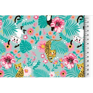 Cotton Jersey Fabric Tiger monkey turquoise Digital Print the Yard