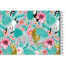 Cotton Jersey Fabric Tiger monkey turquoise Digital Print...