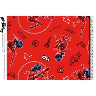 Cotton Jersey Fabric Miraculous - Lady Bug red Digital Print the Yard