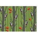 Cotton Jersey Fabric Hamburg Love woodpecker green